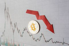 Unprofitable investment of depreciation of virtual money bitcoin. red arrow, silver bitcoin and euro banknotes go down on paper stock photos