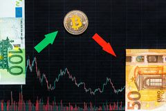Unprofitable investment of virtual money bitcoin. Green red arrow, silver Bitcoin and euro go down on black paper forex chart royalty free stock photography