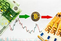 Unprofitable investment of virtual money bitcoin. Green red arrow and silver Bitcoin go down on paper forex chart index rating royalty free stock images