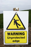 Unprotected edge warning sign with clipping path. A warning sign about an unprotected edge on a construction site with clipping path Stock Photography