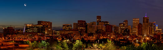 Unque view od the Denver skyline at night Stock Images
