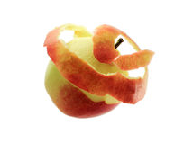 Unravelling Apple on white Stock Photo