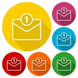 Unread mail icons set with long shadow. Vector icon Royalty Free Stock Photography