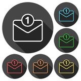 Unread mail icons set with long shadow. Vector icon Royalty Free Stock Photos