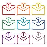 Unread mail icons set. Vector icon Stock Photos