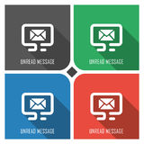 Unread message flat vector icon on colorful background. simple PC web icons eps8. Stock Photo