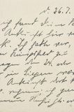 Unreadable handwritten text Used paper texture background. Old unreadable handwritten text. Used paper texture background stock photography