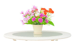 Unreal bouquet. Ornamental unreal bouquet on table clipping on white background Royalty Free Stock Photo