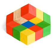 Unreal cubes construction, illusion. Impossible toy, illusion, unreal wooden colored cubes construction on white background Royalty Free Stock Photography