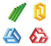 Unreal geometrical shapes symbols,  Royalty Free Stock Photography