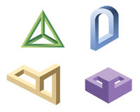 Unreal geometrical shapes symbols,  Royalty Free Stock Image