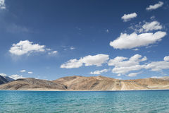 Unreal mountain lake among desert hills. Unreal mountain lake Pangong Tso among desert hills Royalty Free Stock Image