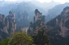 Unreal mountain peak in the early morning. In China National park Stock Photos