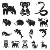 An unrealistic animal black icons in set collection for design. Toy animals vector symbol stock web illustration. An unrealistic animal black icons in set Stock Photography