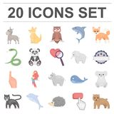 An unrealistic animal cartoon icons in set collection for design. Toy animals vector symbol stock web illustration. An unrealistic animal cartoon icons in set Royalty Free Stock Photography