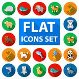 An unrealistic animal flat icons in set collection for design. Toy animals vector symbol stock web illustration. An unrealistic animal flat icons in set Royalty Free Stock Photography
