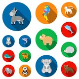 An unrealistic animal flat icons in set collection for design. Toy animals vector symbol stock web illustration. An unrealistic animal flat icons in set Stock Photos