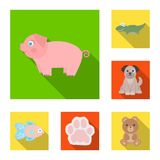 An unrealistic animal flat icons in set collection for design. Toy animals vector symbol stock web illustration. An unrealistic animal flat icons in set Stock Image