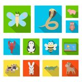 An unrealistic animal flat icons in set collection for design. Toy animals vector symbol stock web illustration. An unrealistic animal flat icons in set Royalty Free Stock Photo