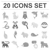 An unrealistic animal monochrome icons in set collection for design. Toy animals vector symbol stock web illustration. An unrealistic animal monochrome icons in Royalty Free Stock Photo