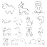 An unrealistic animal outline icons in set collection for design. Toy animals vector symbol stock web illustration. An unrealistic animal outline icons in set Royalty Free Stock Images