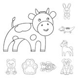 An unrealistic animal outline icons in set collection for design. Toy animals vector symbol stock web illustration. An unrealistic animal outline icons in set Royalty Free Stock Photos