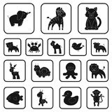 An unrealistic black animal icons in set collection for design. Toy animals vector symbol stock web illustration. An unrealistic black animal icons in set Stock Photos