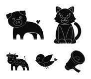 An unrealistic black animal icons in set collection for design. Toy animals vector symbol stock web illustration. An unrealistic black animal icons in set Stock Photography