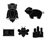 An unrealistic black animal icons in set collection for design. Toy animals vector symbol stock web illustration. An unrealistic black animal icons in set Royalty Free Stock Images