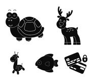An unrealistic black animal icons in set collection for design. Toy animals vector symbol stock web illustration. An unrealistic black animal icons in set Royalty Free Stock Photos