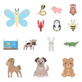 An unrealistic cartoon animal icons in set collection for design. Toy animals vector symbol stock web illustration. An unrealistic cartoon animal icons in set Royalty Free Stock Photos