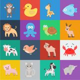 An Unrealistic Cartoon Black Outline Flat Animal Icons In