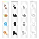 An unrealistic cartoon animal icons in set collection for design. Toy animals vector symbol stock web illustration. An unrealistic cartoon animal icons in set Royalty Free Stock Image