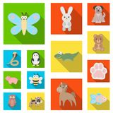 An unrealistic flat animal icons in set collection for design. Toy animals vector symbol stock web illustration. An unrealistic flat animal icons in set Stock Photos