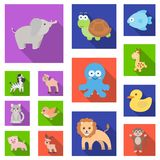 An unrealistic flat animal icons in set collection for design. Toy animals vector symbol stock web illustration. An unrealistic flat animal icons in set Royalty Free Stock Images