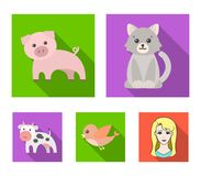 An unrealistic flat animal icons in set collection for design. Toy animals vector symbol stock web illustration. An unrealistic flat animal icons in set Stock Photo