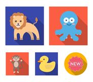 An unrealistic flat animal icons in set collection for design. Toy animals vector symbol stock web illustration. An unrealistic flat animal icons in set Royalty Free Stock Image