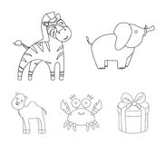 An unrealistic outline animal icons in set collection for design. Toy animals vector symbol stock web illustration. An unrealistic outline animal icons in set Royalty Free Stock Images