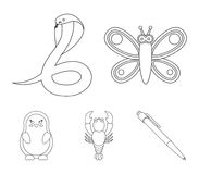 An unrealistic outline animal icons in set collection for design. Toy animals vector symbol stock web illustration. An unrealistic outline animal icons in set Royalty Free Stock Photography