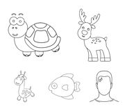 An unrealistic outline animal icons in set collection for design. Toy animals vector symbol stock web illustration. An unrealistic outline animal icons in set Royalty Free Stock Photos