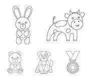 An unrealistic outline animal icons in set collection for design. Toy animals vector symbol stock web illustration. An unrealistic outline animal icons in set Stock Images