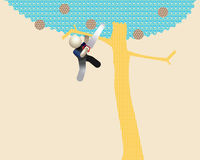 An Unreasonable Man Sawing off Branch Illustration. Man cutting off the branch he's hanging on royalty free illustration