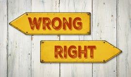 Unrecht oder Recht Lizenzfreies Stockfoto