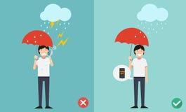 Unrecht und richtige Wege Nicht tun Telefonanruf beim Regnen stock abbildung