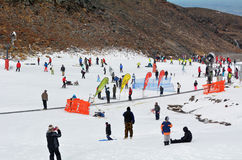 Unrecognisable people skiing on Mount Ruapehu Royalty Free Stock Photo