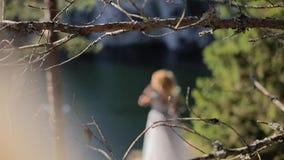 Unrecognizable νύφη κοντά στη λίμνη φιλμ μικρού μήκους