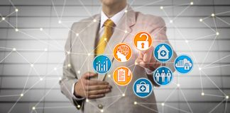Manager Securely Accessing EHR Via AI In Network. Unrecognizable administrator securely accessing electronic health records via artificial intelligence in a royalty free stock images