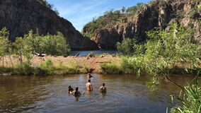 Australian people swiming at Edith falls Nitmiluk National Park Northern Territory, Australia