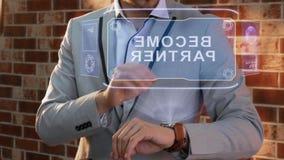 Man uses smartwatch hologram Become partner