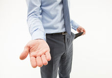 Unrecognizable businessman  asking about help. White background Stock Photography